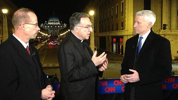 John Allen, Thomas Rosica and Anderson Cooper