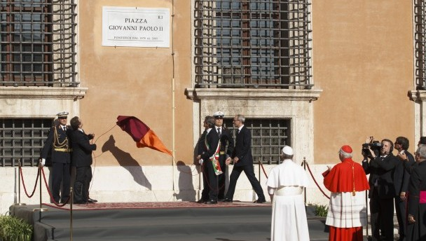 Pope attends dedication of square in honor of Blessed John Paul II outside Basilica of St. John Lateran