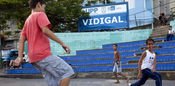 Children play in Vidigal neighborhood of Rio de Janiero