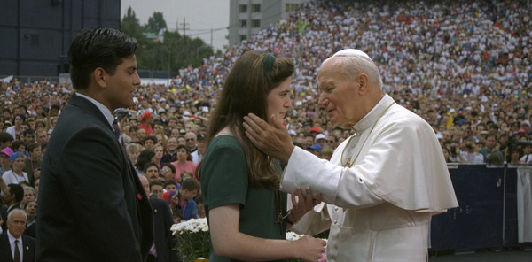 1993 file photo of Blessed John Paul II in Denver for World Youth Day