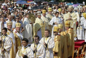 CLERGY PROCESS DURING PILGRIMAGE IN UKRAINE