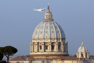 Helicopter carrying Pope Benedict XVI takes off from inside the Vatican on its way to papal summer residence