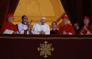Pope Francis I leads prayer as he appears for first time on balcony of St. Peter's Basilica