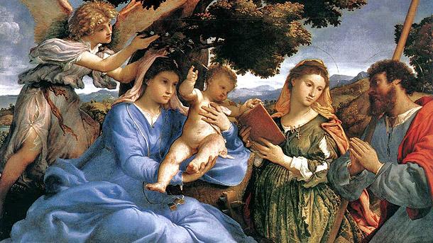 Lorenzo-Lotto-(1480-1556)-Madonna-and-Child-with-Saints-and-Angel