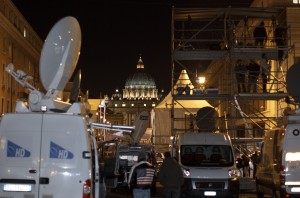 Satellite trucks and television riser seen near Vatican