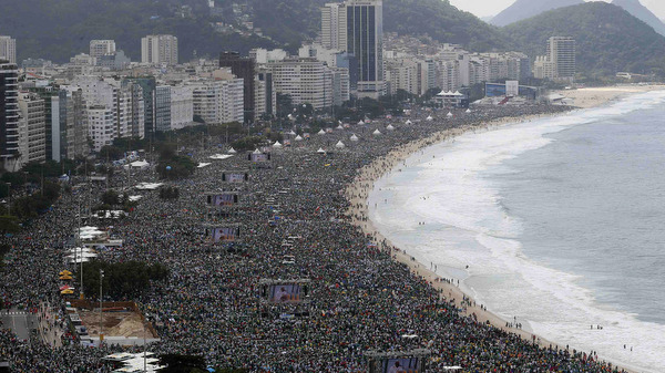Three million people attend World Youth Day closing Mass on Copacabana beach in Rio de Janeiro