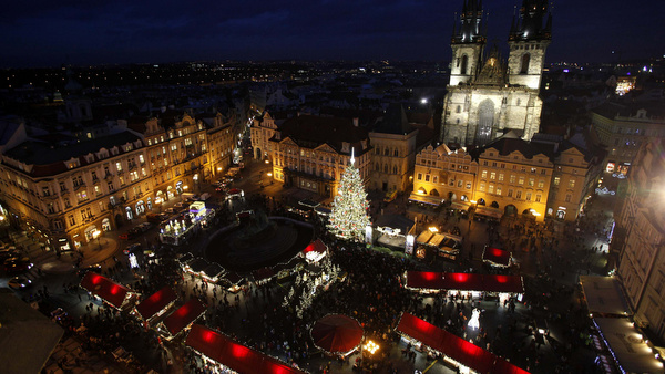 CHRISTMAS TREE ILLUMINATED ON EVE OF ST. NICHOLAS DAY IN PRAGUE