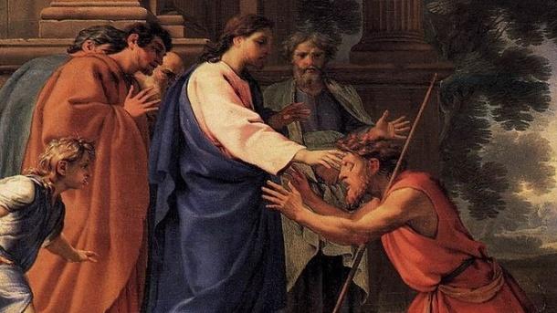 Jesus healing Bartimaeus cropped