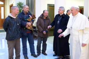 Pope Francis celebrates birthday with men who live on streets near Vatican