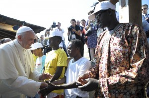 Pope Francis greets immigrants in Lampedusa, Italy