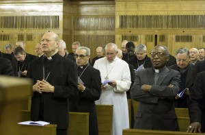 Pope Francis attends retreat with cardinals and bishops outside Rome