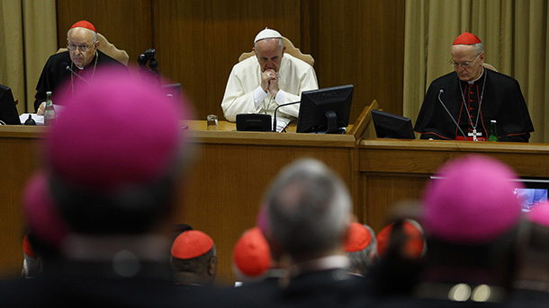 Pope Francis attends morning session on final day of extraordinary Synod of Bishops on the family at Vatican