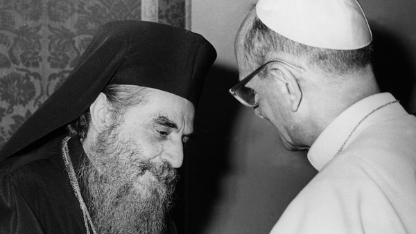 POPE PAUL VI GREETS ORTHODOX PATRIARCH DURING 1964 HOLY LAND TRIP