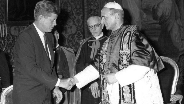POPE PAUL VI RECEIVES PRESIDENT KENNEDY AT VATICAN IN 1963