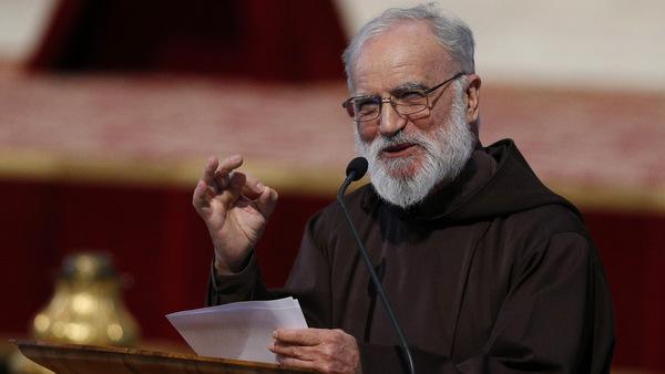File photo of Capuchin Father Raniero Cantalamessa preaching at Vatican