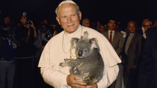 POPE JOHN PAUL II HOLDS KOALA DURING 1986 VISIT TO AUSTRALIA