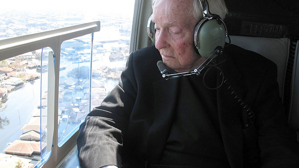 ARCHBISHOP HANNAN PICTURED TOURING NEW ORLEANS AREA AFTER HURRICANE KATRINA IN 2005