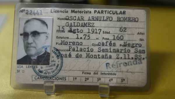 Driver's license of Archbishop Oscar Romero seen in museum in San Salvador