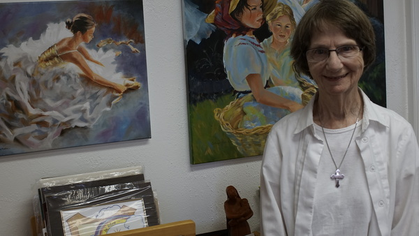 Sr. Catherine Martin O. Carm, in her art studio, Lacombe, Louisiana.