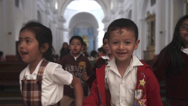 Children church after Ash Wednesday Mass in Guatemala City