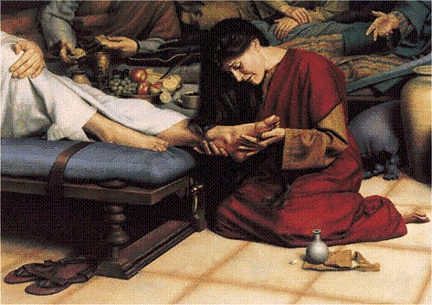 Woman anointing Jesus' Feet