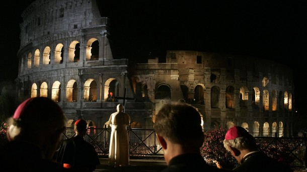 Pope Benedict leads Way of the Cross in 2007 at Colosseum in Rome
