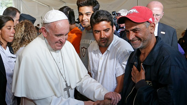 Pope Francis meets refugees at the Moria refugee camp on the island of Lesbos, Greece, April 16, 2016. (CNS photo/Paul Haring) See POPE-LESBOS-ORTHODOX-CAMP April 16, 2016.