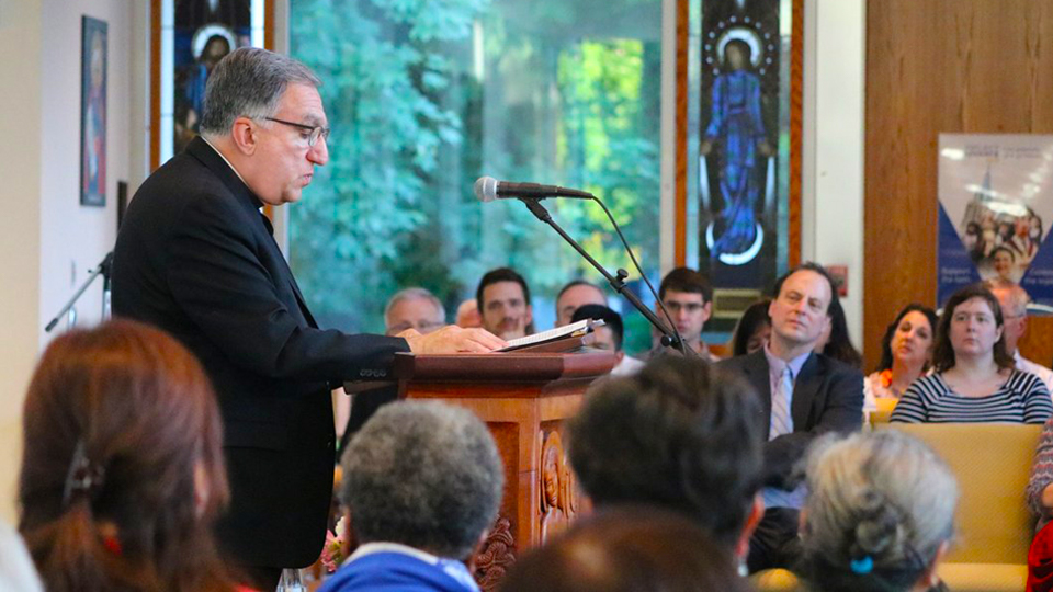 Fr. Thomas Rosica, CSB, delivers the Carr Lecture at St. Mark's College in Vancouver
