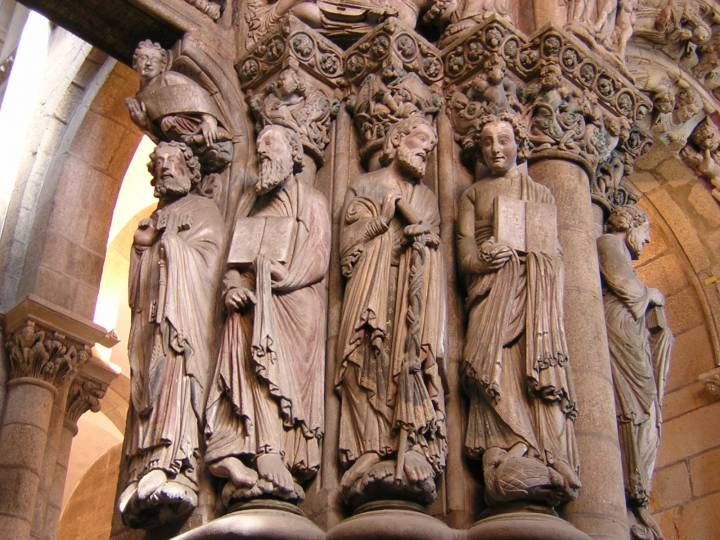 Sculpted apostles in the Portico da Gloria of the cathedral at Santiago de Compostela