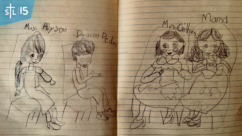 My 7-year-old daughter Chiara's sketch of me being on the set of Allyson's show