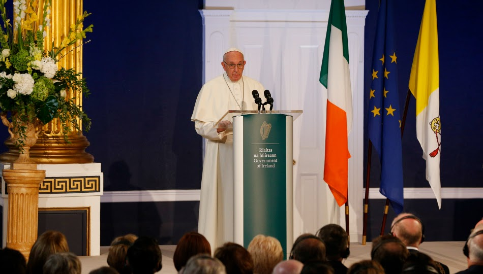 Pope Francis delivers an address in Dublin Castle
