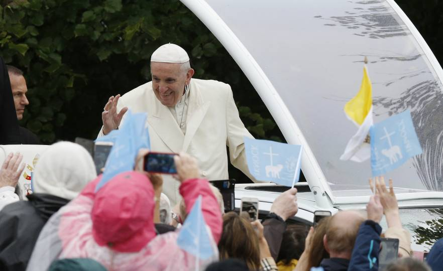 Pope Francis greets the crowd at Knock