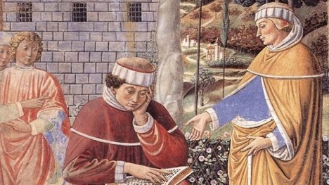 From a fresco cycle of St. Augustine in the Church of Sant'Agostino in San Gimignano, Italy (1464-65), by Benozzo Gozzoli