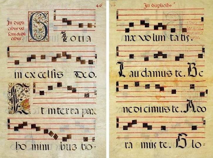 Beginning of Gloria in excelsis from Ms. 002091 of Dartmouth College Library; Italy, 16th century