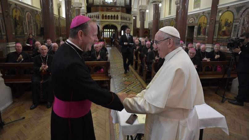 Pope Francis in Ireland: The pope greets the bishops of Ireland