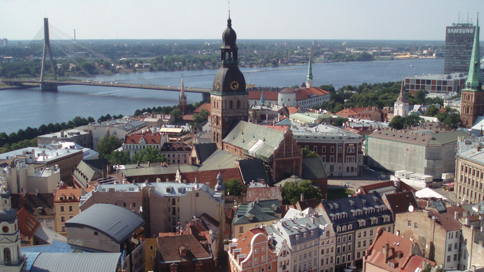 Riga, Latvia, with Riga Dom, the Lutheran Cathedral, in the centre