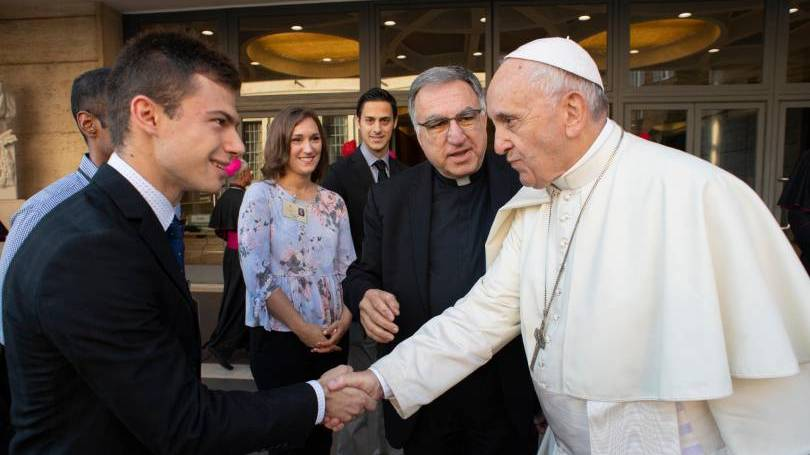 Julian Paparella meets Pope Francis at the synod