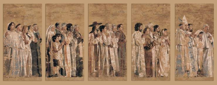 Tapestry by John Nava in the Cathedral of Our Lady of the Angels in Los Angeles, California, depicting a procession of saints