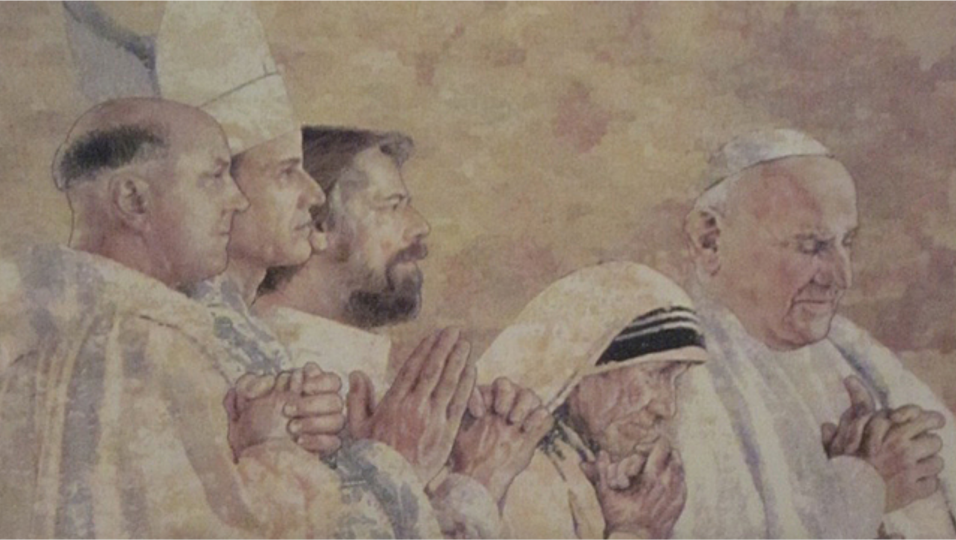 Tapestry by John Nava in the Cathedral of Our Lady of the Angels in Los Angeles, California, depicting Pope John XXIII, Mother Teresa, and others