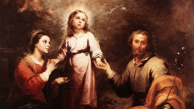 The Holy Family with the Holy Trinity by Esteban Murillo