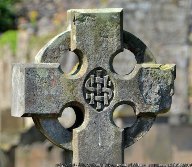 Celtic cross grave marker with interlaced IHS Christogram