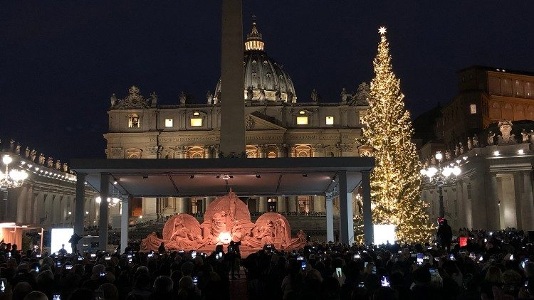 A sand sculpture Nativity scene and 23-metre-tall Christmas tree in St. Peter's Square in Rome (Vatican Media)