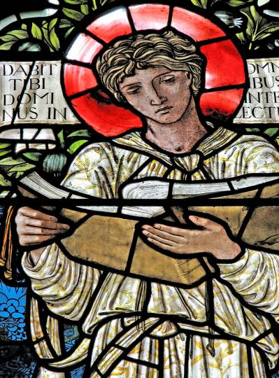 Detail of stained glass window depicting St. Timothy by Edward Burne-Jones