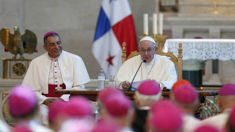 Pope Francis addresses Central American bishops during a meeting in the Church of St. Francis of Assisi in Panama City Jan. 24, 2019. At left is Archbishop Jose Domingo Ulloa Mendieta of Panama. (CNS photo/Paul Haring)