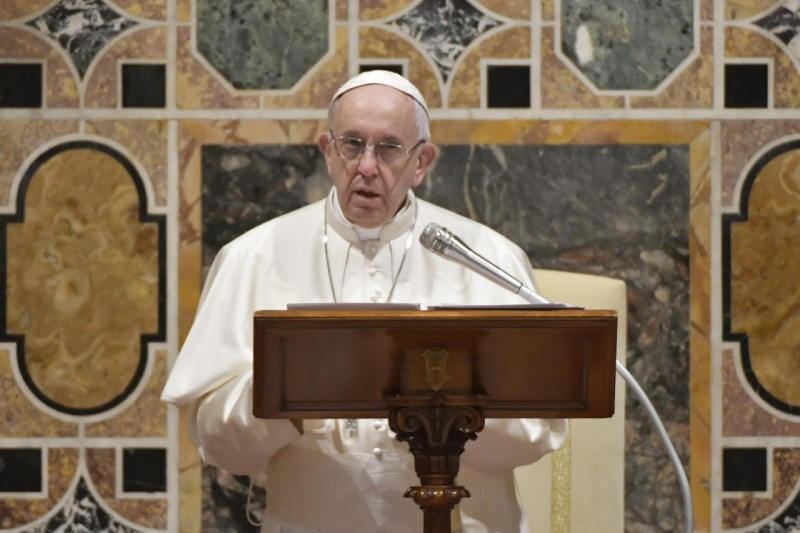 Pope Francis addresses members of the Diplomatic Corps accredited to the Holy See