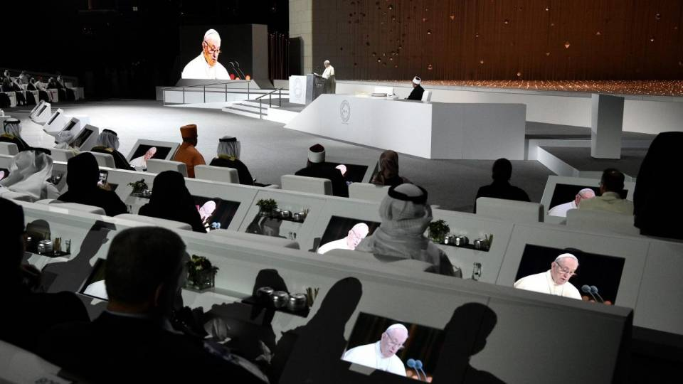 Pope Francis addresses the Global Conference of Human Fraternity (Vatican Media)