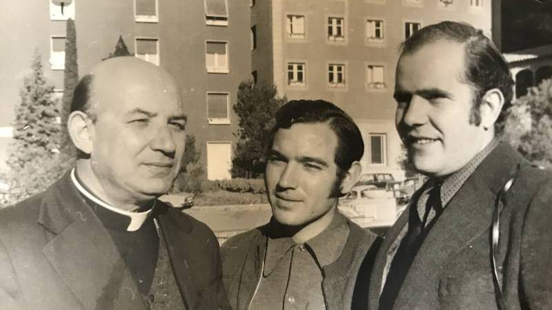 Bishop Enrique Angelelli Carletti of La Rioja, Argentina, is shown in a 1974 photo taken in Germany with two collaborators from his rural movement ministry, which promoted co-ops for small farmers. The bishop's vehicle was run off the road by assassins in 1976. (CNS photo/courtesy of Rafael Sifre)