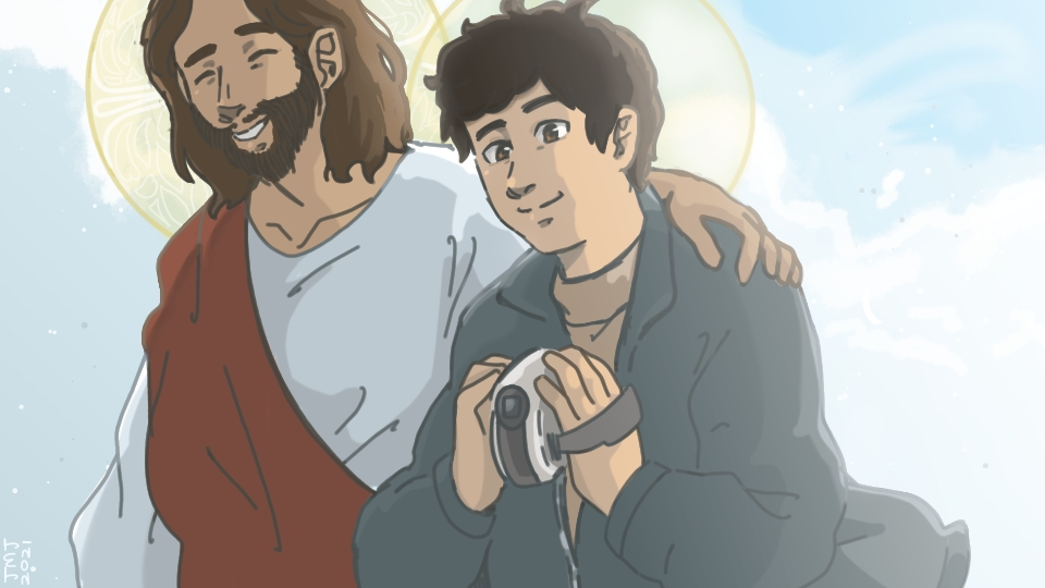 Drawing of Carlo Acutis holding a handheld video camera and walking with Jesus