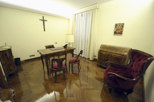 View of study at residence where Pope Francis resides at Vatican