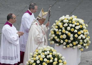 Pope Francis arrives for the canonizations of Sts John XXIII and John Paul II at Vatican